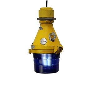 Landebahnlampe aus Gusseisen & Aluminium in Gelb & Blau