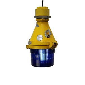 Yellow and Blue Cast Aluminum Airport Runway Pendant Light