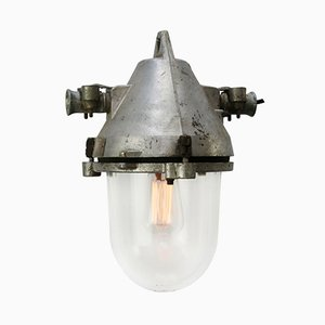 Lampe à Suspension Industrielle en Fonte d'Aluminium Argentee