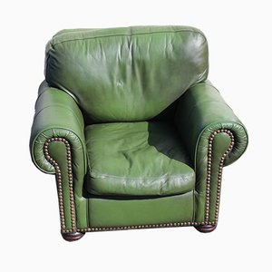 Green Leather Tub Armchair, 1960s