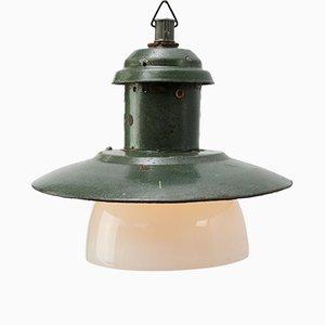 Green Enamel Industrial Opaline Glass Pendant Light