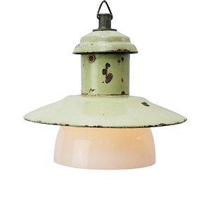 Lampe à Suspension Industrielle en Verre Opalin et email Vert Clair