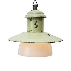 Light Green Enamel Industrial Opaline Glass Pendant Light