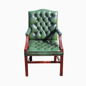 Green Leather Carver Armchair, 1960s