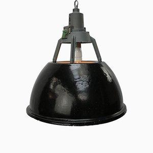 Lampe à Suspension Industrielle Vintage en email Noir, 1950s