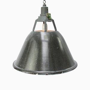 Lampe à Suspension Industrielle Vintage en email Gris, 1950s