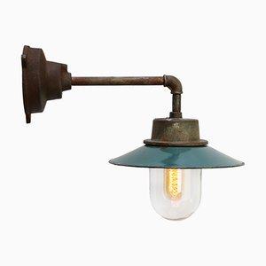 Vintage Industrial Petrol Enamel & Cast Iron Wall Lamp, 1950s