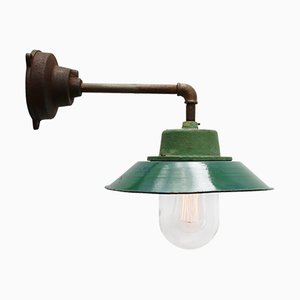 Vintage Industrial Green Enamel & Cast Iron Wall Lamp, 1950s