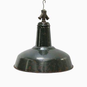 Lampe à Suspension Industrielle Vintage en email Noir et Vert, 1950s