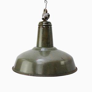 Lampe à Suspension Industrielle Vintage en email Vert, 1950s