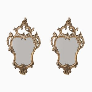 Vintage Carved and Gilded Wooden Wall Mirrors, 1930s, Set of 2