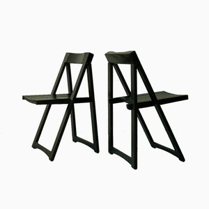 Italian Wooden Folding Chairs by Aldo Jacober for Alberto Bazzani, 1960s, Set of 2
