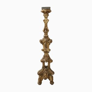 Antique Vintage Carved and Gilded Wooden Candleholder, 1680s