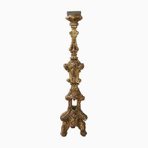 Candelero antiguo vintage de madera tallada y dorada, década de 1680