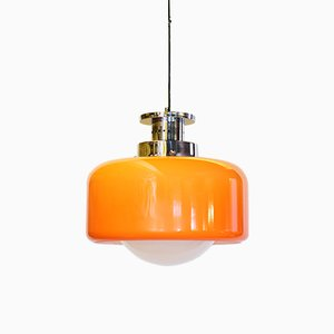 Glass and Orange Plastic Hanging Lamp, 1960s