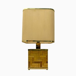 Lampe de Bureau Mid-Century en Laiton et Bambou par Tommaso Barbi, 1960s