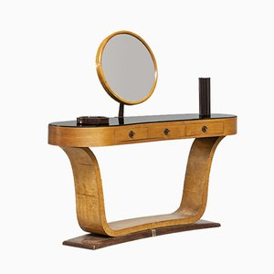 Italian Walnut & Black Glass Console Table by Osvaldo Borsani, 1950s
