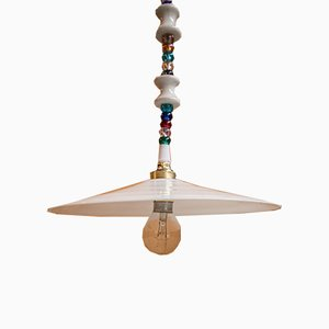 White Opaline Glass Ceiling Lamp, 1920s