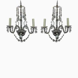 Englische Regency Wandlampen aus Glas, 2er Set