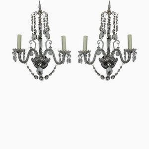 Regency Style English Glass Wall Lights, Set of 2