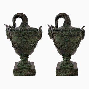 Tazzas Antiques en Bronze, 1900s, Set de 2