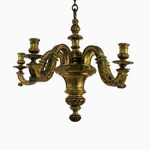 Lámpara de araña inglesa de bronce dorado, década de 1830