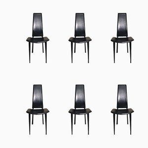 Black Leather Dining Chairs, 1980s, Set of 6