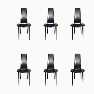 Esszimmerstühle mit schwarzem Lederbezug, 1980er, 6er Set