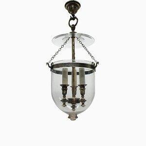 Antike Deckenlampe aus Glas mit Kerzenhaltern