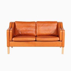 Sofá de dos plazas danés de cuero coñac, años 80