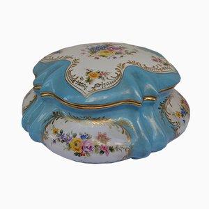 Caja francesa antigua pintada a mano de cerámica, década de 1900