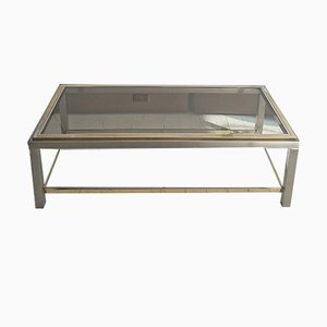 French Gold-Plating & Chrome 2-Tier Coffee Table, 1970s