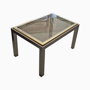 Mesa de centro francesa de dos pisos chapada en oro y metal cromado con tablero de vidrio, años 70