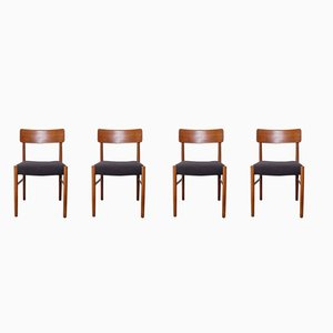 Danish Teak Dining Chairs, 1950s, Set of 4