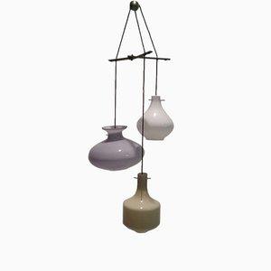 Lámpara de araña triple de vidrio de Stilnovo, años 50