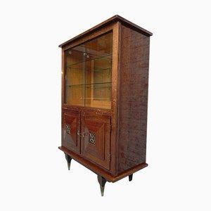 Mueble brutalista vintage con dos puertas correderas de vidrio, años 60