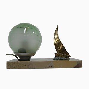 Lámpara de escritorio náutica Art Déco con base de mármol, años 30