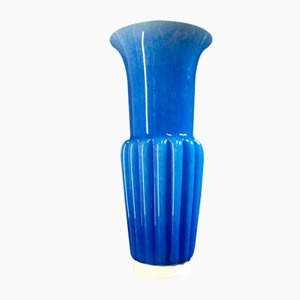 Blaue Vase von Barovier & Toso, 1980er