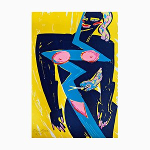 Female Nude with Snake Chromatic Silkscreen Print by Elvira Bach