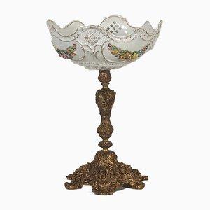 Antike italienische Tischlampe aus Porzellan & Bron