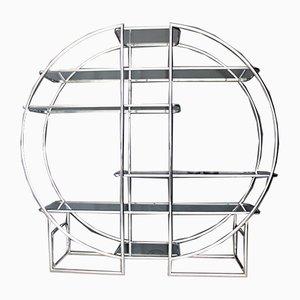 Verchromtes Regal aus Glas, 1970er