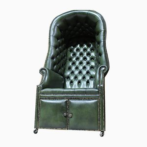 Englischer Leder Porter Stuhl aus Leder im englischen Stil, 19. Jh