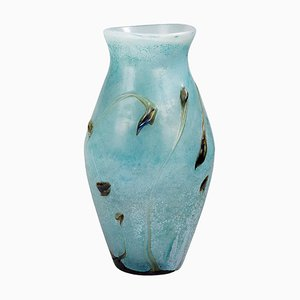 Large French Glass Vase With Aquatic Plants Decor by Jean Paul Cinquilli for Saint-Paul de Vence, 1980s