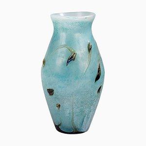 Vaso grande in vetro con decorazioni acquatiche di Jean Paul Cinquilli per Saint-Paul de Vence, Francia, anni '80