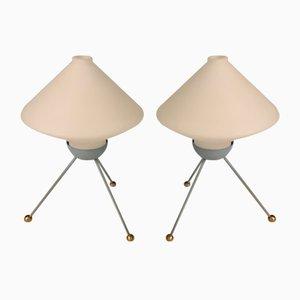 Lampes de Bureau en Verre Opalin, 1950s, Set de 2