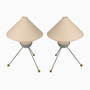 Opaline Glass Table Lamps, 1950s, Set of 2