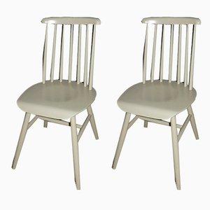Weiße Esszimmerstühle aus Holz, 2er Set