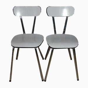 White Formica Kitchen Dining Chairs, Set of 2