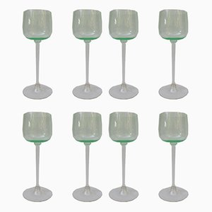 Antique Art Nouveau Wine Glasses, Set of 8