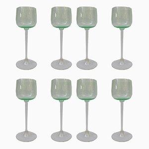 Bicchieri da vino Art Nouveau antichi, set di 8